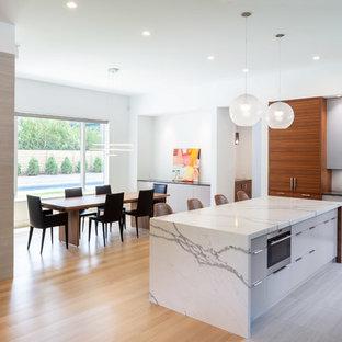 プロビデンスの大きいコンテンポラリースタイルのおしゃれなキッチン (フラットパネル扉のキャビネット、グレーのキャビネット、クオーツストーンカウンター、マルチカラーのキッチンパネル、大理石の床、シルバーの調理設備の、セラミックタイルの床、グレーの床、マルチカラーのキッチンカウンター) の写真