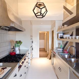 サンフランシスコのエクレクティックスタイルのおしゃれなキッチン (亜鉛製カウンター、ダブルシンク、オープンシェルフ) の写真