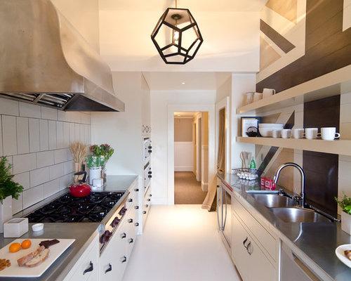 20 photos de cuisines parallèles avec un plan de travail en zinc