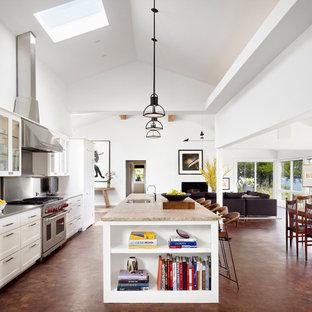Idéer för mycket stora 60 tals grått kök med öppen planlösning, med vita skåp, rostfria vitvaror, en köksö, brunt golv, en undermonterad diskho, luckor med glaspanel och stänkskydd med metallisk yta
