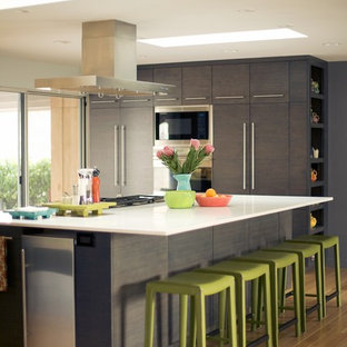 Inspiration for a mid-sized modern light wood floor open concept kitchen remodel in Salt Lake City with flat-panel cabinets, gray cabinets, stainless steel appliances and an island