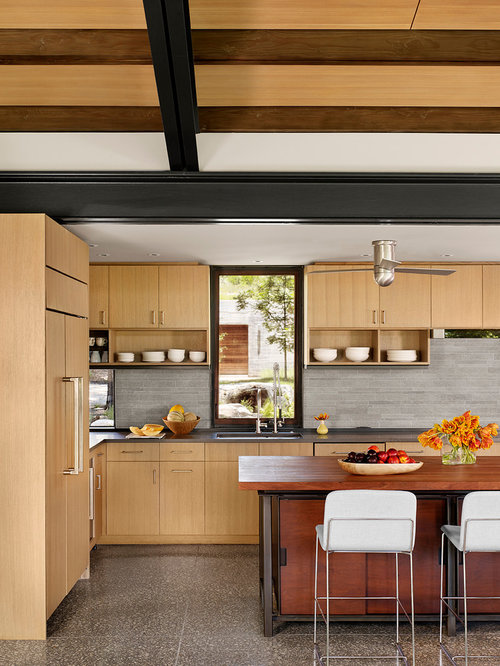 kitchen backsplash with oak cabinets. Contemporary l shaped kitchen idea in Houston with flat panel cabinets  light wood Backsplash Honey Oak Cabinets Houzz