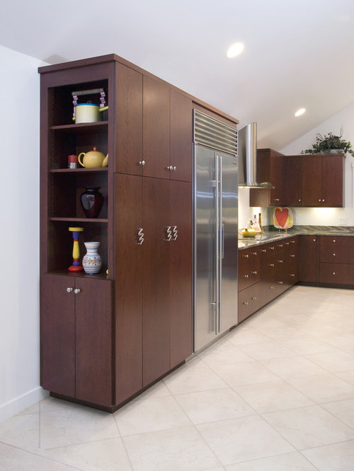 Kitchen Design Ideas Renovations Photos With Dark Wood Cabinets And Flat Panel Cabinets