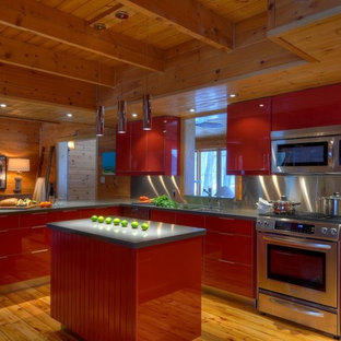 Modern Red Kitchen in a Log Cabin