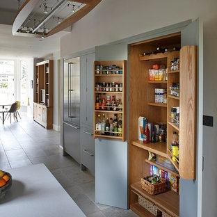 Photo of a medium sized modern galley kitchen/diner in Surrey with flat-panel cabinets, grey cabinets, stainless steel appliances and no island.
