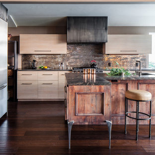 Contemporary kitchen photos - Inspiration for a contemporary kitchen remodel in San Francisco with flat-panel cabinets, light wood cabinets, metallic backsplash, metal backsplash and stainless steel appliances