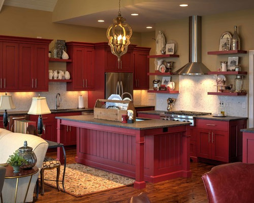 Barn Red Cabinets Home Design Ideas, Pictures, Remodel and Decor