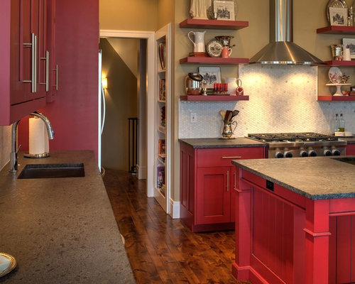 Traditional Kitchen Pantry Design Ideas Renovations Photos With Red Cabinets