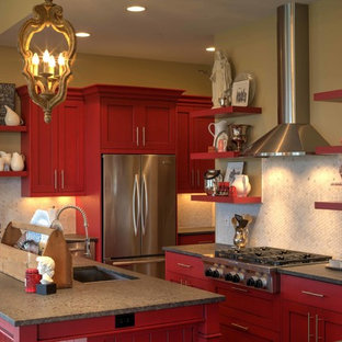 Modern shaker cabinetry with red paint and glaze finish.