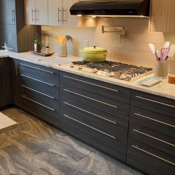 Modern slab door Roucke HD Textured cabinetry.