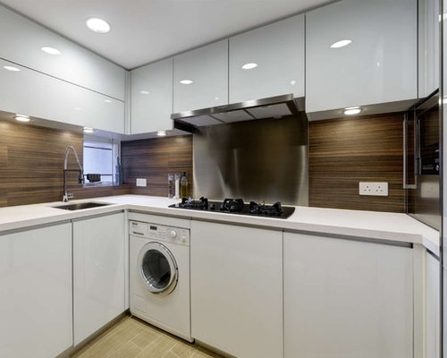 Kitchen design ideas renovations photos with white appliances and brown splashback Kitchen design companies hong kong