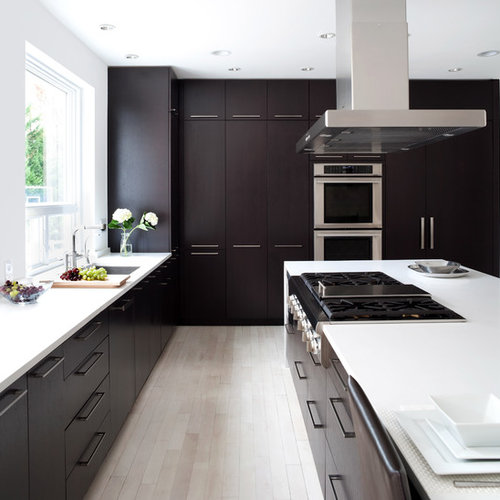 Trendy Kitchen Photo In DC Metro With Flat Panel Cabinets, Dark Wood  Cabinets And