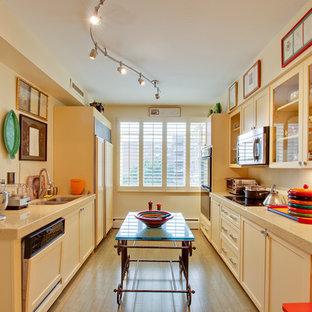 Idee per una cucina parallela boho chic chiusa con ante in stile shaker, lavello a doppia vasca, ante gialle e elettrodomestici da incasso