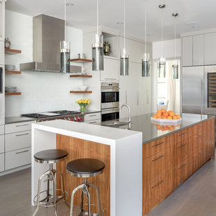 Contemporary kitchen designs - Example of a trendy l-shaped dark wood floor and brown floor kitchen design in Dallas with an undermount sink, flat-panel cabinets, white cabinets, white backsplash, stainless steel appliances, an island and gray countertops
