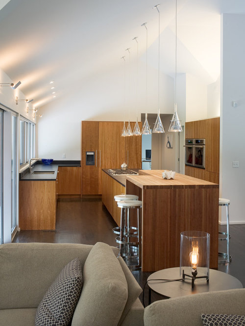 Vaulted ceiling lighting ideas and photos houzz this is an example of a contemporary and modern open plan kitchen in kansas city with aloadofball Images