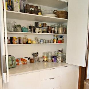 Modern White Kitchen- Bi-fold appliance cabinet