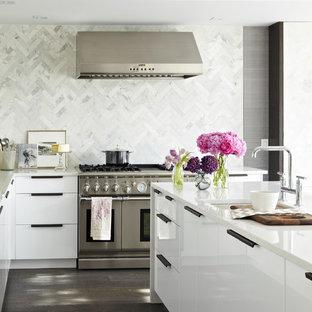 トロントの中サイズのコンテンポラリースタイルのおしゃれなキッチン (アンダーカウンターシンク、フラットパネル扉のキャビネット、白いキャビネット、珪岩カウンター、白いキッチンパネル、シルバーの調理設備の、大理石の床、濃色無垢フローリング、茶色い床) の写真