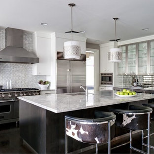 Modern White Kitchen with Stainless steel and Marble Countertop