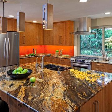 Modern Wood & Orange Accent Kitchen & Great Room