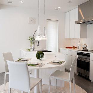 Modern kitchen photos - Example of a minimalist kitchen design in Miami with stainless steel appliances