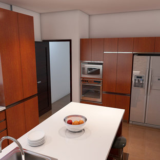 Mid-sized modern kitchen pantry remodeling - Inspiration for a mid-sized modern ceramic tile and beige floor kitchen pantry remodel in Other with a double-bowl sink, orange cabinets, solid surface countertops, an island and white countertops