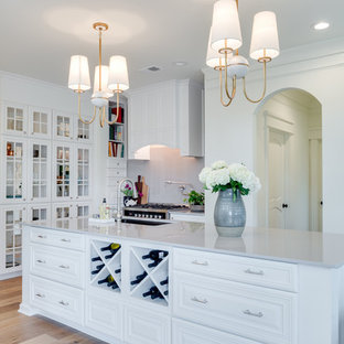 Mid-sized transitional kitchen inspiration - Kitchen - mid-sized transitional l-shaped light wood floor and beige floor kitchen idea in Orange County with raised-panel cabinets, white cabinets, stainless steel appliances, an island, solid surface countertops and gray countertops