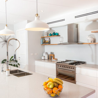 Design ideas for a large contemporary galley kitchen in Sydney with white cabinets, stainless steel appliances, an island, a double-bowl sink and flat-panel cabinets.