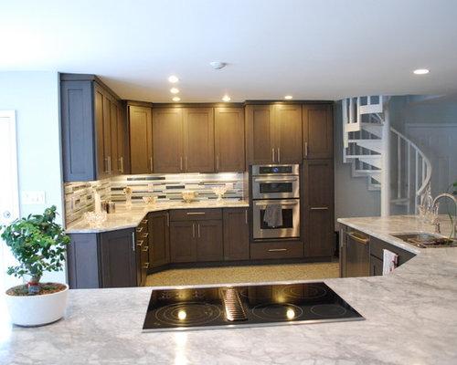 cuisine avec un sol en linol um et un lot central photos et id es d co de cuisines. Black Bedroom Furniture Sets. Home Design Ideas