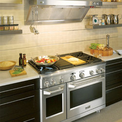 "Pro kitchen - GE Monogram 48"" Pro Range with Professional Restaurant-style Hood. The range is available in Dual Fuel or All-Gas."