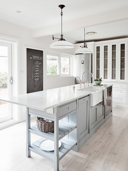 Amazing Mid Sized Country Kitchen In Sydney With A Farmhouse Sink, Shaker Cabinets,  Marble