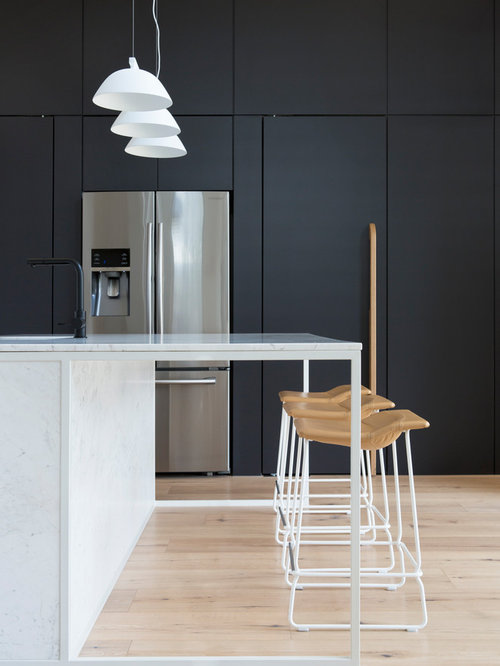 Inspiration For A Contemporary Kitchen In Melbourne With Flat Panel  Cabinets, Grey Cabinets,