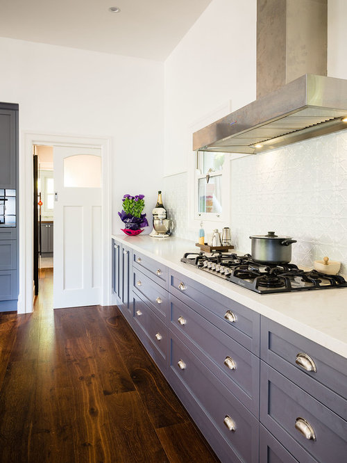 Exceptional Inspiration For A Transitional Kitchen Remodel In Melbourne With  Recessed Panel Cabinets, Blue Cabinets