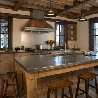 75 Beautiful Rustic Kitchen With Stainless Steel Countertops ...