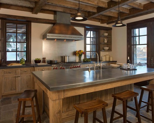 Rustic Kitchen with Stainless Steel Countertops Design Ideas & Remodel Pictures | Houzz