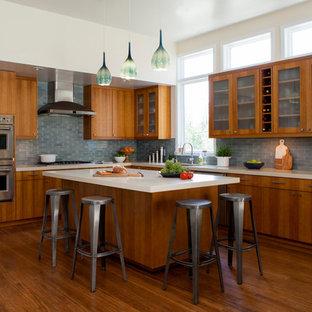 サンフランシスコの大きいトランジショナルスタイルのおしゃれなキッチン (アンダーカウンターシンク、フラットパネル扉のキャビネット、中間色木目調キャビネット、クオーツストーンカウンター、グレーのキッチンパネル、セラミックタイルのキッチンパネル、シルバーの調理設備の、竹フローリング) の写真