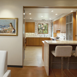 Inspiration For A Contemporary U Shaped Enclosed Kitchen Remodel In Santa Barbara With Flat
