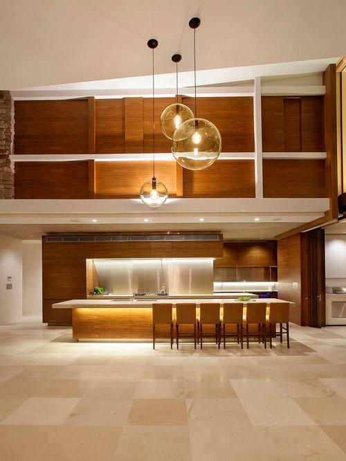 Mid century modern kitchens houzz for Modern large kitchen design