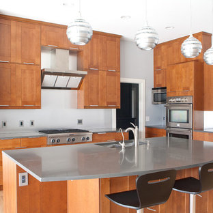 Design ideas for a large modern single-wall eat-in kitchen in Dallas with shaker cabinets, medium wood cabinets, stainless steel appliances, a double-bowl sink, zinc benchtops, white splashback, medium hardwood floors, with island and brown floor.