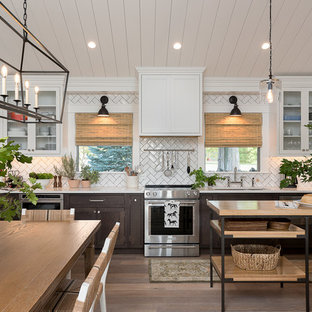 Mid Sized Farmhouse Open Concept Kitchen Designs   Example Of A Mid Sized  Country