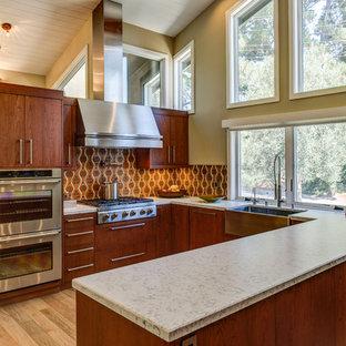 サンフランシスコの広いアジアンスタイルのおしゃれなキッチン (エプロンフロントシンク、フラットパネル扉のキャビネット、中間色木目調キャビネット、クオーツストーンカウンター、マルチカラーのキッチンパネル、セメントタイルのキッチンパネル、シルバーの調理設備、淡色無垢フローリング) の写真
