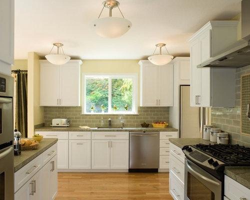 White Cabinets Hardwood Floor Kitchen Design Ideas