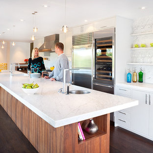 Photo of a midcentury galley kitchen in San Francisco with open cabinets, white cabinets, marble benchtops, white splashback, stone slab splashback and stainless steel appliances.