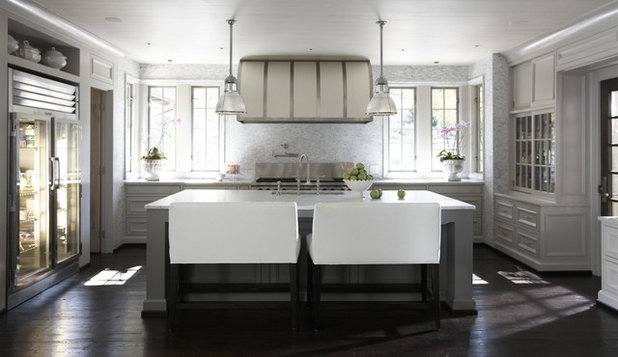 Contemporary Kitchen by Tracery Interiors. Tracery Interiors. Adding bench bar stools ... & Bench Bar Stools Take a Stand in the Kitchen islam-shia.org