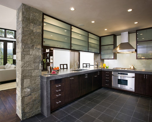 Frosted Glass Upper Cabinets Ideas, Pictures, Remodel and Decor