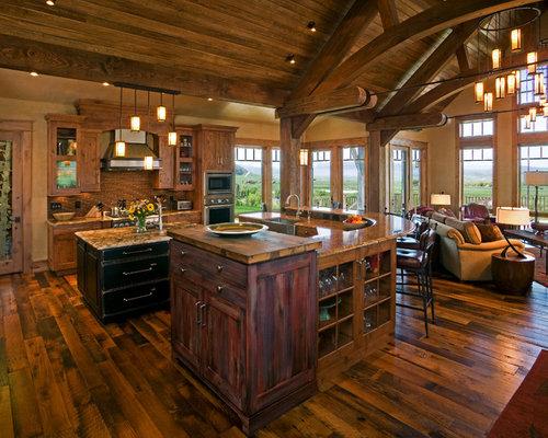 3 000 rustic open concept kitchen design ideas remodel for Rustic concept