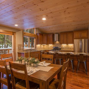 Rustic kitchen pictures - Example of a mountain style kitchen design in Other