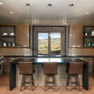 Rustic Kitchen Designs   Mountain Style U Shaped Medium Tone Wood Floor  Kitchen Photo In