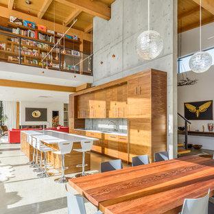 Imagen de cocina de galera, rural, abierta, con suelo de cemento, armarios con paneles lisos, puertas de armario de madera oscura, electrodomésticos con paneles y una isla