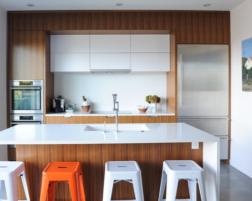 Inspiration For A Small Contemporary Galley Concrete Floor And Gray Floor  Kitchen Remodel In Vancouver With