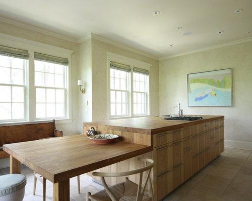 kitchen modern island. Mountain Style Eat-in Kitchen Photo In Atlanta With Flat-panel Cabinets, Medium Modern Island